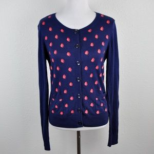Caslon Blue & Pink Cardigan Sweater Size Medium